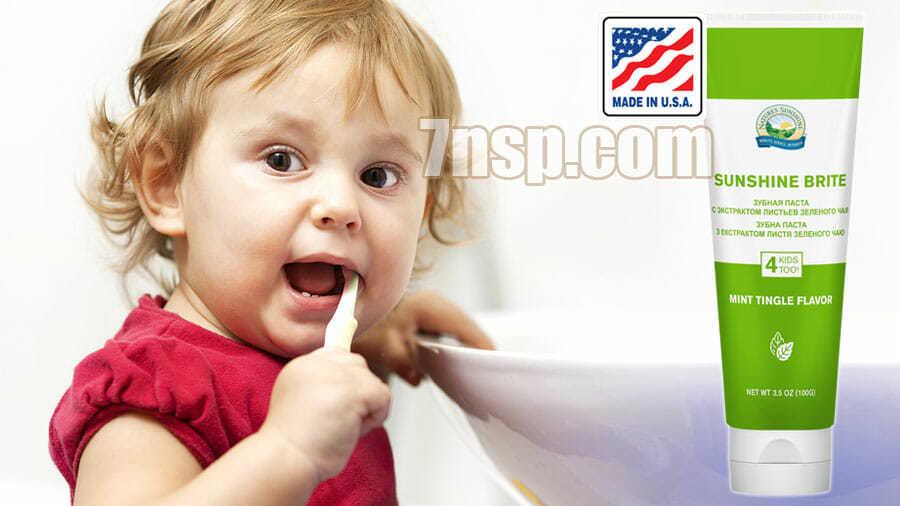 Зубная паста Саншайн Брайт без фтора для детей и взрослых, цена
