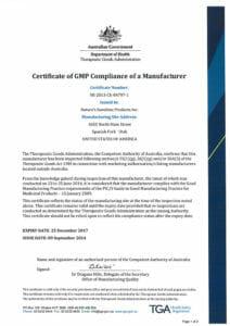 TGA австралийский сертификат соответствия, список бады витамины НСП