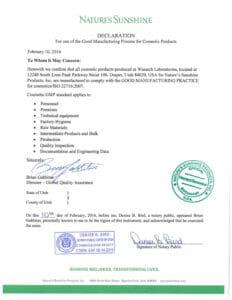 GMP сертификат на лечебную уходовую косметику НСП Натрия